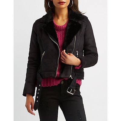 Faux Suede & Fur Belted Moto Jacket
