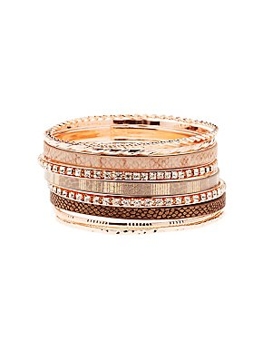 Embellished Stackable Bangle Bracelet - 9 Pack