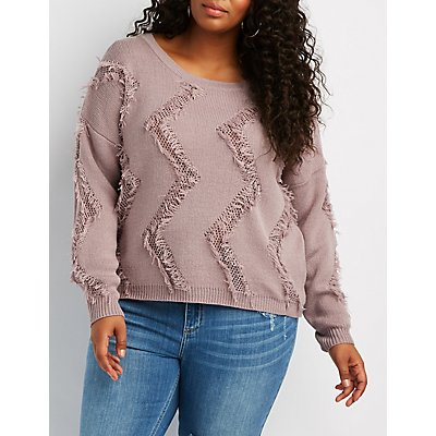Plus Size Feather-Trim Pullover Sweater