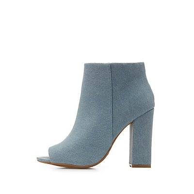 Denim Peep Toe Ankle Booties