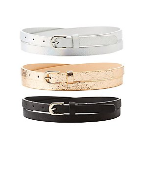 Plus Size Faux Snakeskin & Textured Leather Belts - 3 Pack