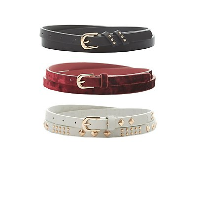 Plus Size Velvet, Studded & Faux Leather Belts - 3 Pack