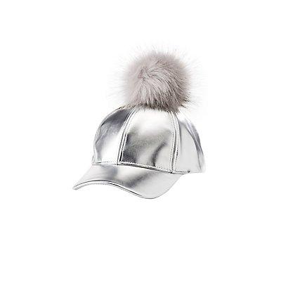 Metallic Pom Pom Hat