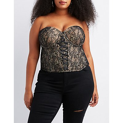 Plus Size Lace Lace-Up Detail Bustier Top