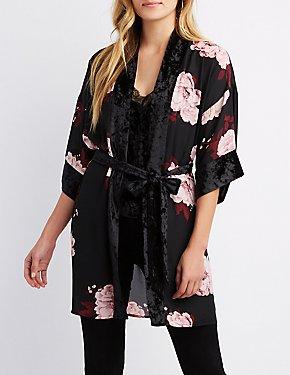 Floral Velvet-Trim Kimono