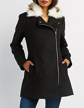 Long Faxu Fur Collor Moto Jacket