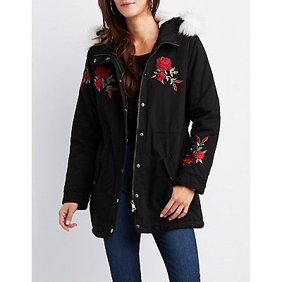 Floral Embroidered Fur-Trim Anorak Jacket