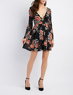 Floral Mesh Bell Sleeve Skater Dress