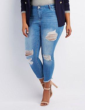 Plus Size Refuge Destroyed Skin Tight Legging Jeans