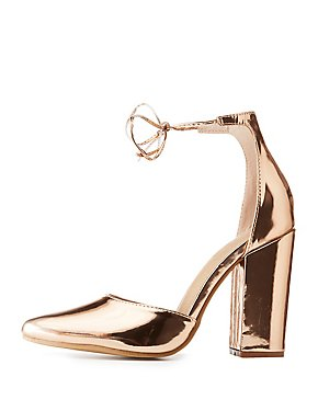 Metallic Lace-Up Pointed Toe Pumps