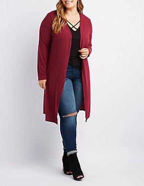 Plus Size Ribbed Longline Cardigan