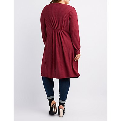 Plus Size Ribbed Longline Cardigan