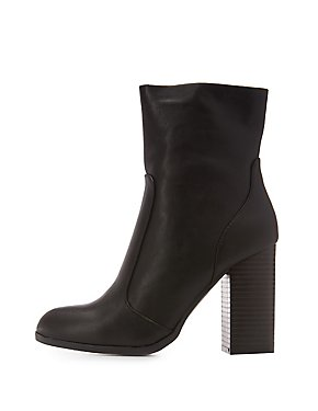 Bamboo Faux Leather Sock Booties