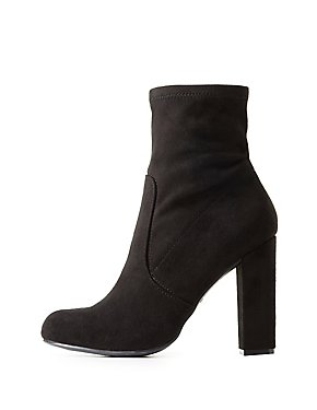 Bamboo Faux Suede Sock Booties