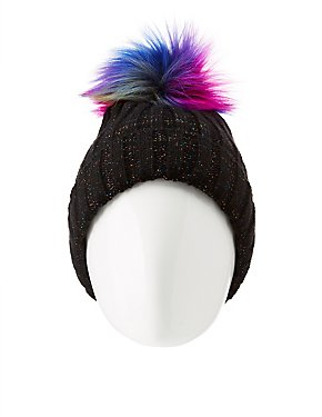 Metallic Lurex & Fleece Lined Beanie