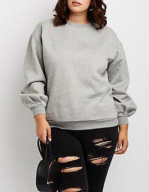 Plus Size Open-Back Oversize Sweatshirt
