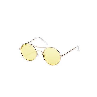 Metal-Trim Round Sunglasses