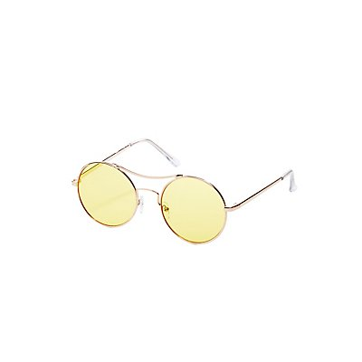Metal-Trim Round Sunglasses