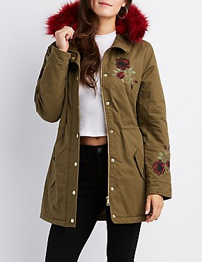 Floral Embroidered Faux Fur-Trim Anorak Jacket