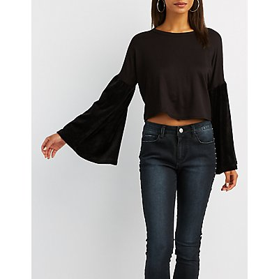 Velvet-Trim Bell Sleeve Top