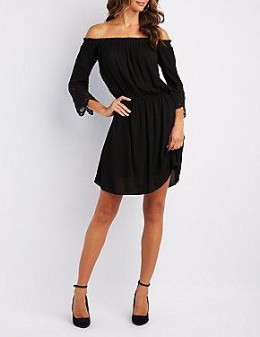 Crochet-Inset Off-The-Shoulder Dress