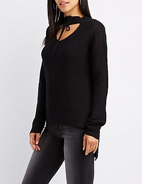 Shaker Stitch Lace-Up Choker Neck Cut-Out Sweater