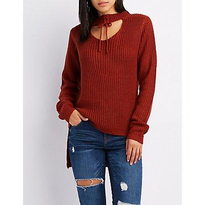 Shaker Stitch Lace-Up Choker Neck Cut-Out Sweater