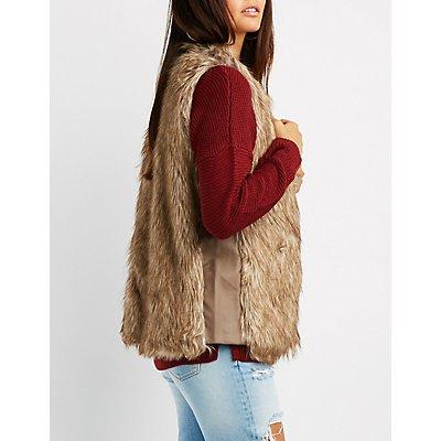 Leather-Trim Faux Fur Vest