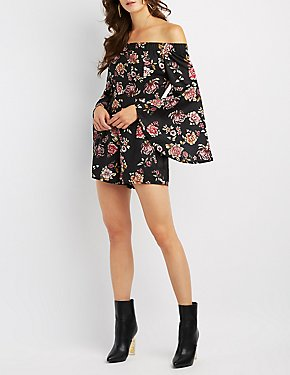 Floral Off-The-Shoulder Bell Sleeve Romper