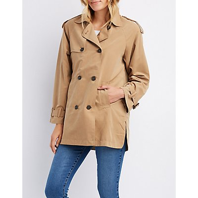Lightweight Double-Breasted Hooded Trench Coat