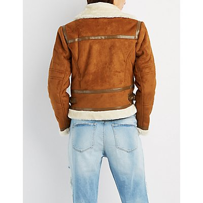Faux Suede Sherpa Moto Jacket