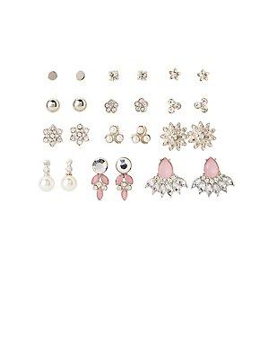 Faux Pearl & Crystal Stud Earrings - 12 Pack