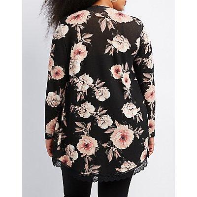 Plus Size Floral Crochet-Trim Cardigan