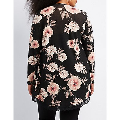 Plus Size Floral Crochet-Trim Cardigan