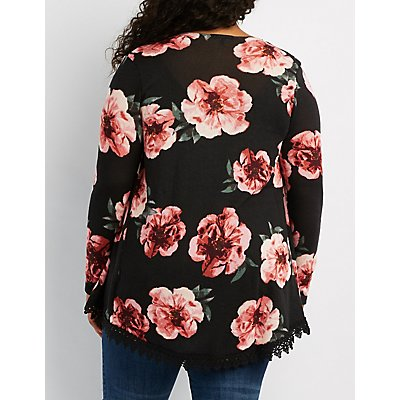 Plus Size Crochet-Trim Floral Cardigan