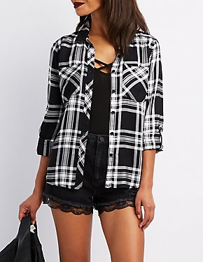 Plaid Button-Up Pocket Shirt