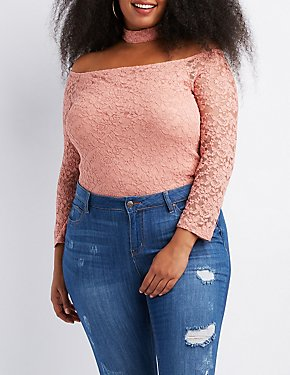 Plus Size Floating Choker Neck Top