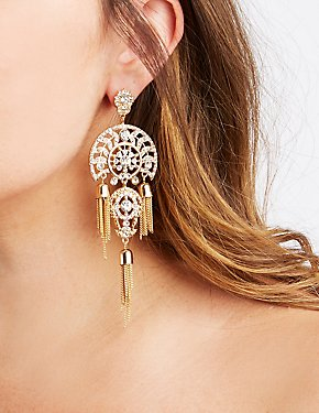 Tassel Chain Embellished Earrings