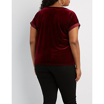 Plus Size Velvet Mock Neck Cut-Out Tee