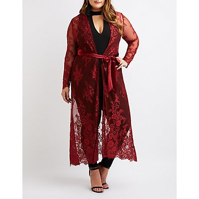 Plus Size Eyelash Lace Tie-Front Duster