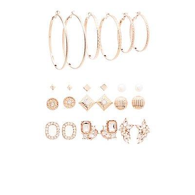 Embellished Stud & Hoop Earrings - 12 Pack
