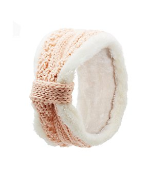 Shearling Trim Cable Knit Headband