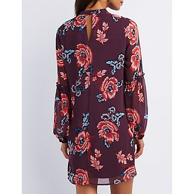 Floral Cut-Out Keyhole Shift Dress