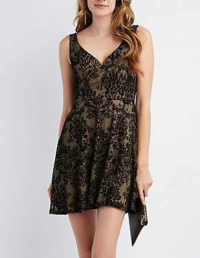 Flocked Velvet Skater Dress