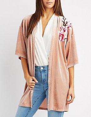 Floral Patch Velvet Kimono