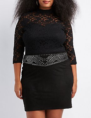Plus Size Lace Mock Neck Top