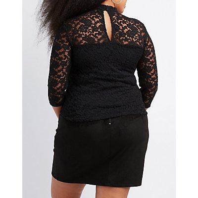 Plus Size Lace Mock Neck Top