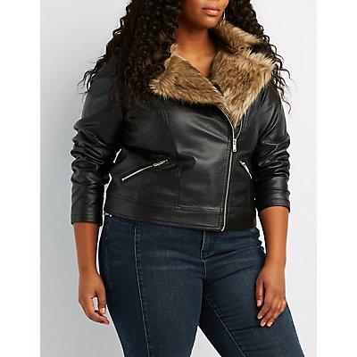Plus Size Faux Fur-Trim Moto Jacket