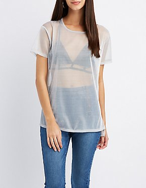 Sheer Metallic Mesh Tee