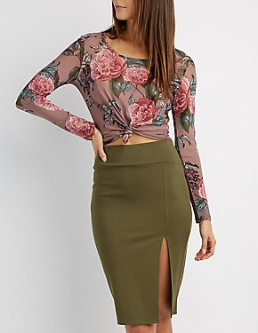 Floral Knotted Mesh Top